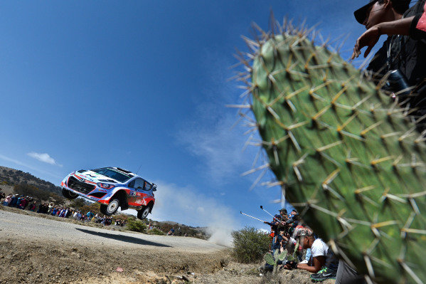Thierry Neuville (BEL) / Nicolas Gilsoul (BEL) Hyundai i20 WRC at World Rally Championship, Rd3, Rally Mexico, Day Three, Leon, Mexico, 8 March 2015.