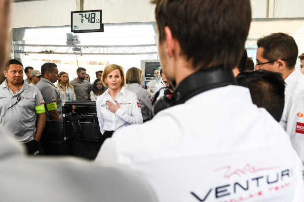 Susie Wolff, Team Principal, Venturi Formula E, talks to her team
