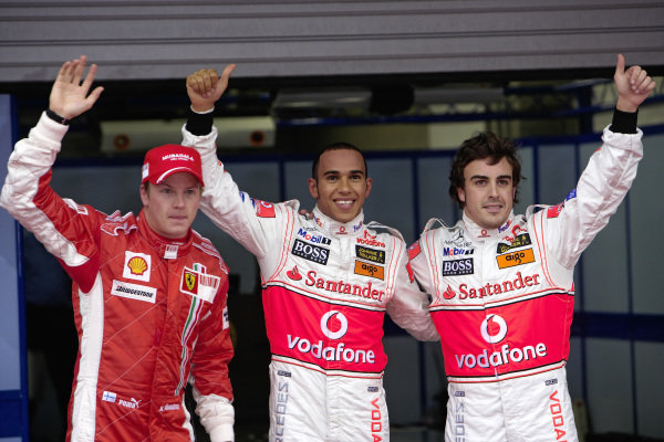 The Top 3 in qualifying: Pole sitter Lewis Hamilton with Kimi Räikkönen in third and teammate Fernando Alonso in 3rd.