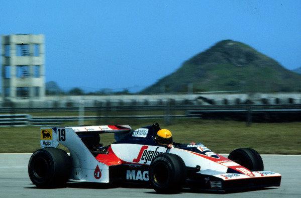 1984 Brazilian Grand Prix.Jacarepagua, Rio de Janeiro, Brazil.23-25 March 1984.Ayrton Senna (Toleman TG183B Hart) on his Grand Prix debut.World Copyright - LAT Photographic