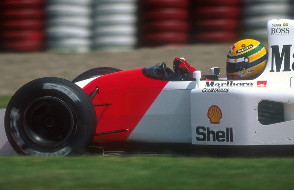 1992 Canadian Grand Prix.Montreal, Quebec, Canada.12-14 June 1992.Ayrton Senna (McLaren MP4/7A Honda). He exited the race whilst leading after his engine cut out because of an electronics failure.Ref-92 CAN 02.World Copyright - LAT Photographic