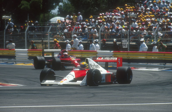 1990 French Grand Prix.Paul Ricard, Le Castellet, France.6-8 July 1990.Ayrton Senna (McLaren MP4/5B Honda) with Nigel Mansell (Ferrari 641) behind. He finished in 3rd position. Ref-90 FRA 18.World Copyright - LAT Photographic