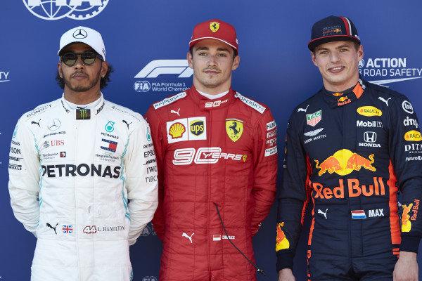 Top three Qualifiers Lewis Hamilton, Mercedes AMG F1, pole man Charles Leclerc, Ferrari, and Max Verstappen, Red Bull Racing