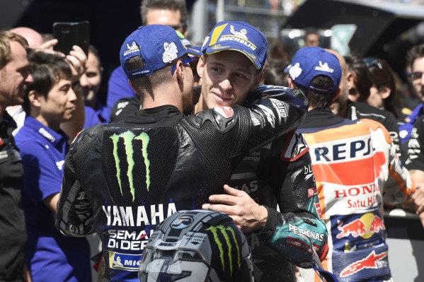 Race winner Maverick Vinales, Yamaha Factory Racing, third place Fabio Quartararo, Petronas Yamaha SRT.