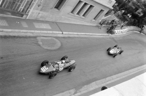 Phil Hill, Ferrari 156, 3rd position, leads Richie Ginther, Ferrari 156, 2nd position.