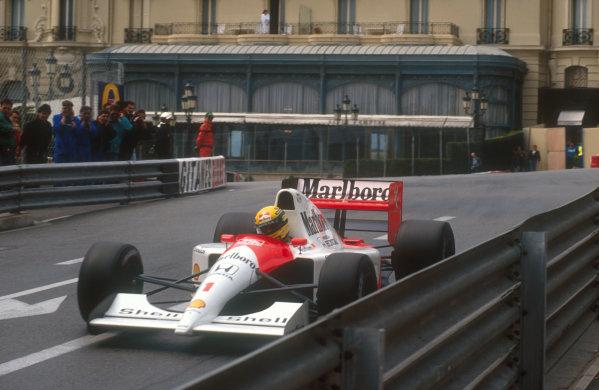 1991 Monaco Grand Prix.Monte Carlo, Monaco.26-28 April 1991.Ayrton Senna (McLaren MP4/6 Honda) 1st position on the exit of Casino.Ref-91 MON 14.World Copyright - LAT Photographic