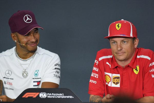 Lewis Hamilton, Mercedes AMG F1 and Kimi Raikkonen, Ferrari in Press Conference