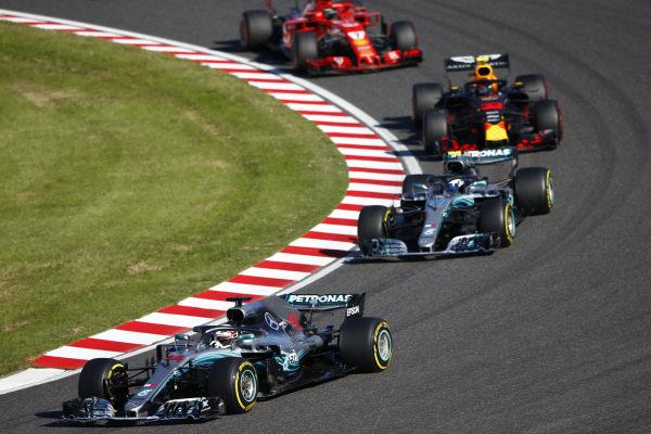 Lewis Hamilton, Mercedes AMG F1 W09 EQ Power+, leads Valtteri Bottas, Mercedes AMG F1 W09 EQ Power+ and Sebastian Vettel, Ferrari SF71H