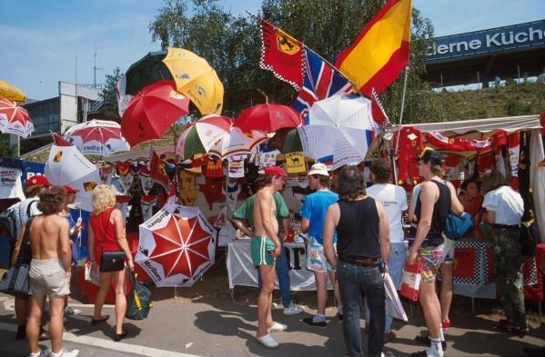 The stalls were packed with stuff German GP, Hockenheim, Germany, 29 July 1990