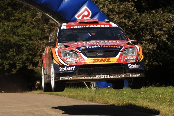Francois Duval (BEL), Ford Focus WRC, on stage 10.
