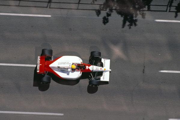 1991 United States Grand Prix.Phoenix, Arizona, U.S A. 8-10 March 1991.Ayrton Senna (McLaren MP4/6 Honda) 1st position.Ref-91 USA 03.World Copyright - LAT Photographic