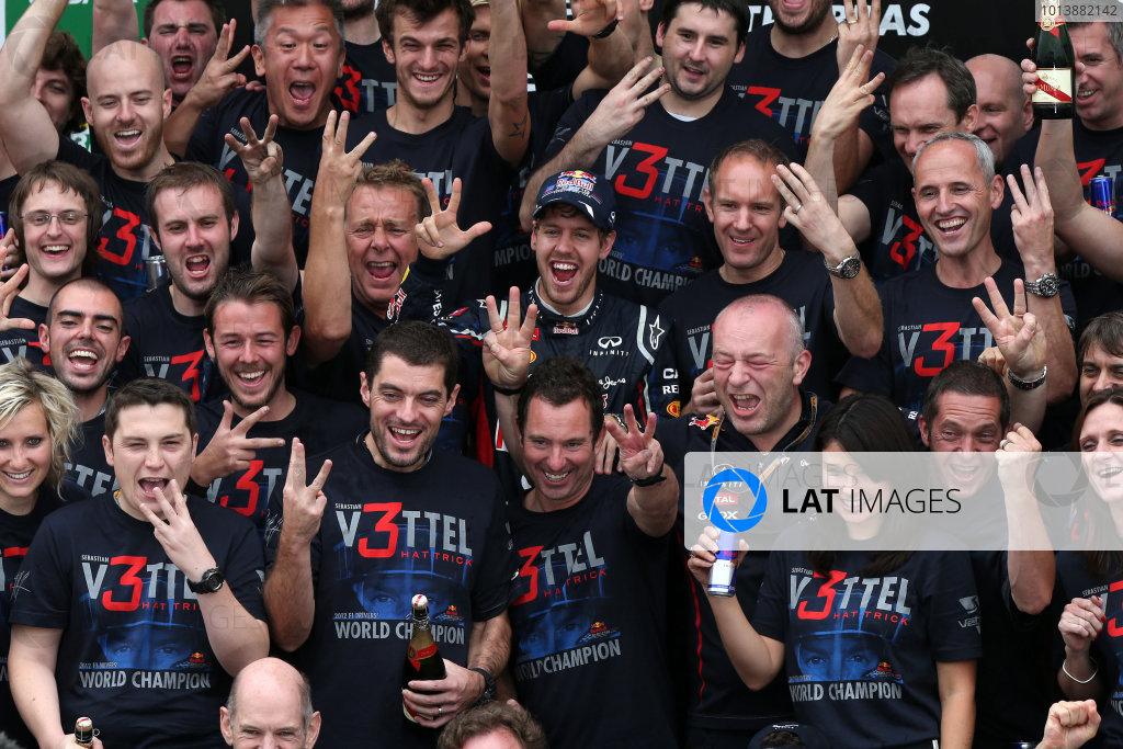 l Sunday 25th November 2012. Sebastian Vettel, Red Bull Racing, and the Red Bull Racing team celebrate a successful title campaign. World Copyright: Steve Etherington/c ref: Digital Image JSX3261 copy