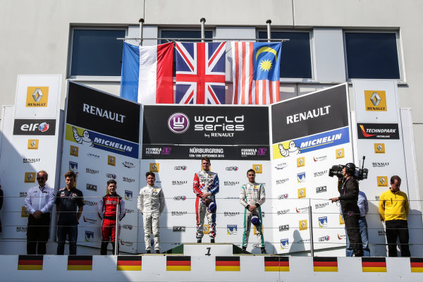 Nurburg (GER) 11-13 SEPTEMBER 2015 - World Series by Renault at the Nurburgring. Podium of race 1: Oliver Rowland #4 Fortec, Nyck de Vries #1 Dams and Jazeman Jaafar #3 Fortec. Podium. © 2015 Sebastiaan Rozendaal / Dutch Photo Agency / LAT Photographic