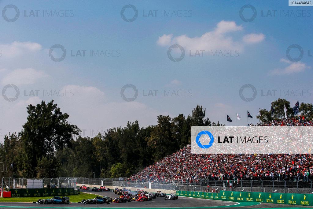 Autodromo Hermanos Rodriguez, Mexico City, Mexico. Sunday 1 November 2015. Nico Rosberg, Mercedes F1 W06 Hybrid, leads Lewis Hamilton, Mercedes F1 W06 Hybrid, Daniil Kvyat, Red Bull Racing RB11 Renault, Sebastian Vettel, Ferrari SF-15T, and the rest of the field at the start. World Copyright: Glenn Dunbar/LAT Photographic ref: Digital Image _W2Q1078