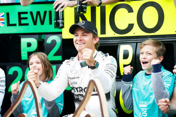 Red Bull Ring, Spielberg, Austria. Sunday 21 June 2015. Nico Rosberg, Mercedes AMG, 1st Position, celebrates with his team. World Copyright: Alastair Staley/LAT Photographic. ref: Digital Image _79P9042