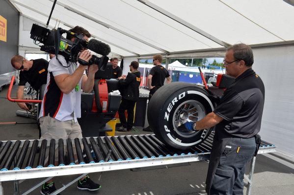 Pirelli tyre compound. Formula One World Championship, Rd9, German Grand Prix, Preparations, Nurburgring, Germany, Thursday 4 July 2013.