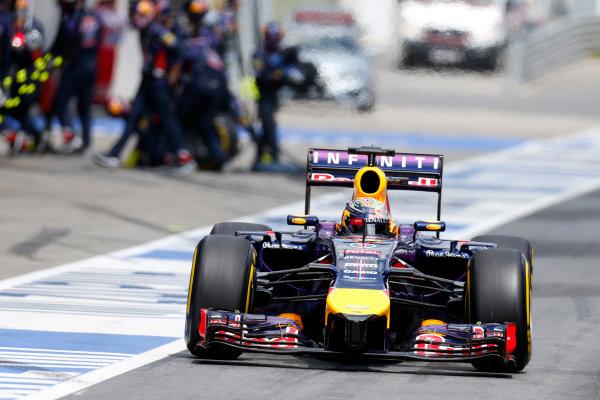 Red Bull Ring, Spielberg, Austria. Sunday 22 June 2014. Sebastian Vettel, Red Bull Racing RB10 Renault, in the pit lane. World Copyright: Alastair Staley/LAT Photographic. ref: Digital Image _79P7571