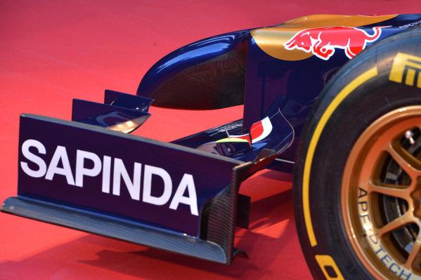 Scuderia Toro Rosso STR9 front wing detail. Scuderia Toro Rosso STR9 Launch, Jerez, Spain, Monday 27 January 2014.
