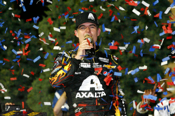 9-10 May, 2014, Kansas City, Kansas USA Jeff Gordon celebrates in victory lane ©2014, Russell LaBounty LAT Photo USA