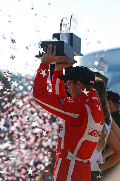 2017 Verizon IndyCar Series Toyota Grand Prix of Long Beach Streets of Long Beach, CA USA Sunday 9 April 2017 Sebastien Bourdais celebrates on the podium World Copyright: Phillip Abbott/LAT Images ref: Digital Image lat_abbott_lbgp_0417_15040