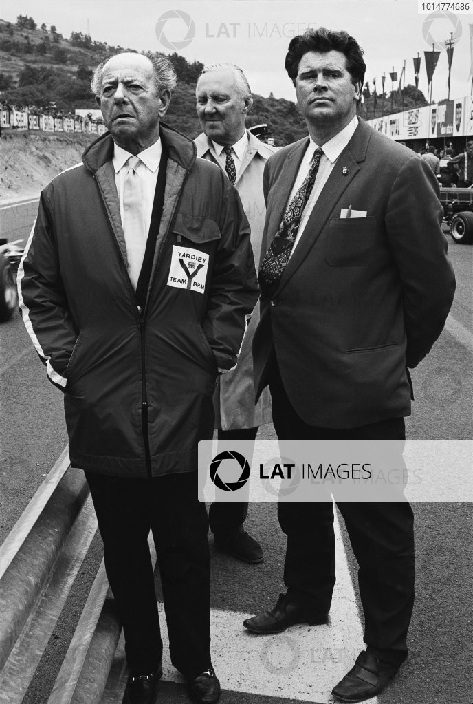 1971 Formula One World Championship. Tim Parnell, Yardley BRM team manager with BRM founder Raymond Mays, portrait.  World Copyright: LAT Photographic. Ref:  B/WPRINT.