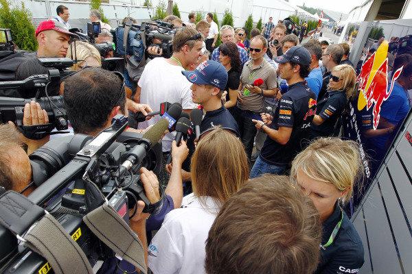 Circuit Gilles Villeneuve, Montreal, Canada9th June 2011Sebastian Vettel, Red Bull Racing RB7 Renault and Mark Webber, Red Bull Racing RB7 Renault speak to the media.World Copyright: Charles Coates/LAT Photographicref: Digital Image _X5J0261