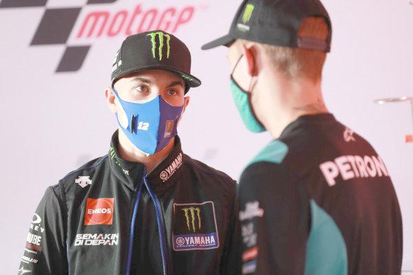 Maverick Vinales, Yamaha Factory Racing Fabio Quartararo, Petronas Yamaha SRT.