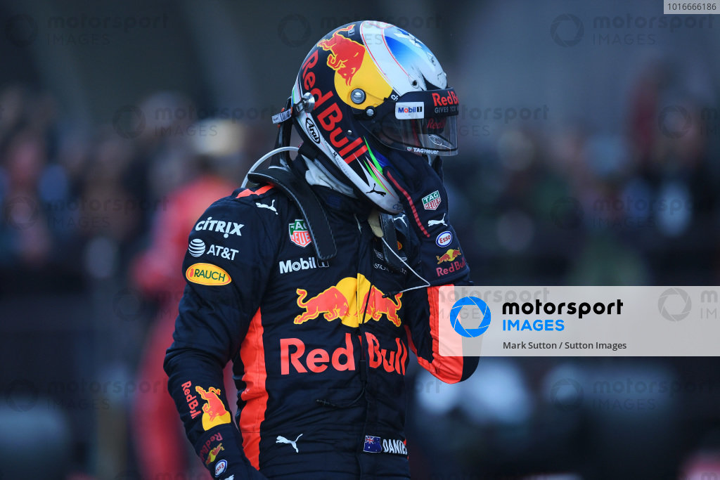 Daniel Ricciardo (AUS) Red Bull Racing RB13 in parc ferme at Formula One World Championship, Rd2, Chinese Grand Prix, Race, Shanghai, China, Sunday 9 April 2017. BEST IMAGE