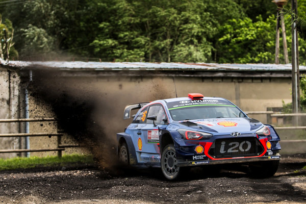Dani Sordo (ESP) / Marc Marti (ESP), Hyundai Motorsport i20 Coupe WRC at World Rally Championship, Rd8, Rally Poland, Day Three, Mikolajki, Poland, 2 July 2017.