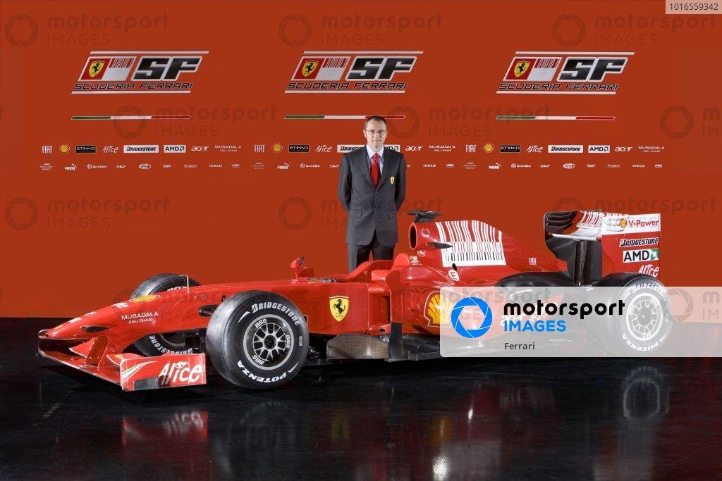 Stefano Domenicali (ITA) Ferrari Manager of F1 Operations with the Ferrari F60. Ferrari F60 Team Presentation, Maranello, Italy, 12 January 2009.
