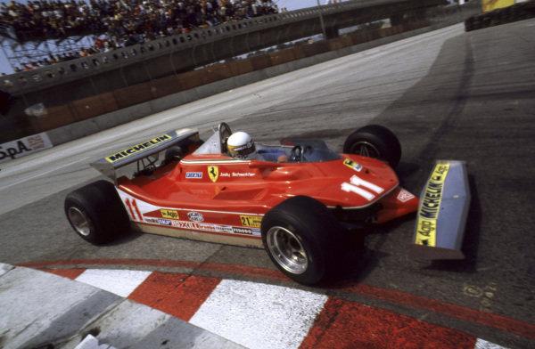 Long Beach, California, USA. 6-8 April 1979. Jody Scheckter (Ferrari 312T4) 2nd position. Ref: 79LB01. World Copyright - LAT Photographic.