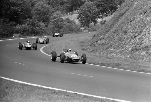 Jochen Rindt, Brabham BT16 Ford, leads Jim Clark, Lotus 35 Ford, and Alan Rees, Brabham BT16 Ford.