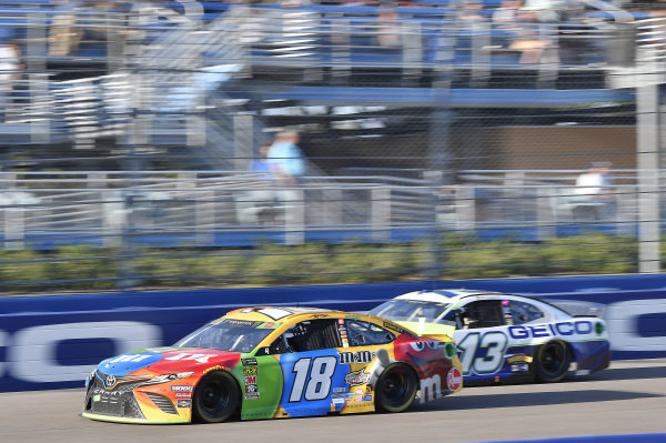 #18: Kyle Busch, Joe Gibbs Racing, Toyota Camry M&M's, #13: Ty Dillon, Germain Racing, Chevrolet Camaro GEICO