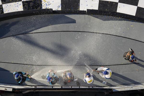 GS Podium, #75 Compass Racing McLaren GT4, GS: Paul Holton, Kuno Wittmer, #99 Automatic Racing Aston Martin Vantage GT4, GS: Gary Ferrera, Kris Wilson, #69 Motorsports In Action McLaren GT4, GS: Jesse Lazare, Corey Fergus, Champagne