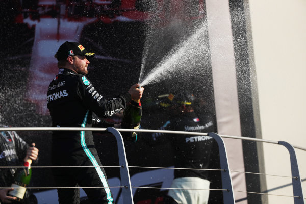 Valtteri Bottas, Mercedes-AMG Petronas F1, 2nd position, sprays Champagne from the podium