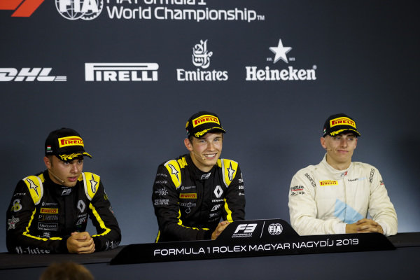 HUNGARORING, HUNGARY - AUGUST 03: Max Fewtrell (GBR) ART Grand Prix, Race winner Christian Lundgaard (DNK) ART Grand Prix and Jake Hughes (GBR) HWA RACELAB in the press conference during the Hungaroring at Hungaroring on August 03, 2019 in Hungaroring, Hungary. (Photo by Joe Portlock / LAT Images / FIA F3 Championship)