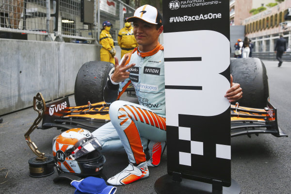 Lando Norris, McLaren, 3rd position, celebrates