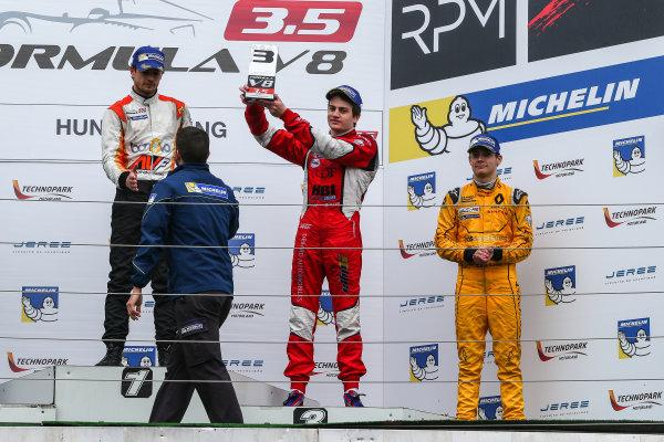 BUDAPEST (HUN) APR 22-24 2016 - Second round of the Formula V8 3.5 at the Hungaroring. Aurelien Panis #8 Arden Motorsport. Podium. © 2016 Diederik van der Laan  / Dutch Photo Agency / LAT Photographic