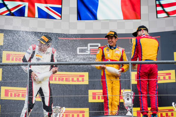 2017 GP3 Series Round 5.  Spa-Francorchamps, Spa, Belgium. Sunday 27 August 2017. George Russell (GBR, ART Grand Prix), Giuliano Alesi (FRA, Trident), Ryan Tveter (USA, Trident).  Photo: Zak Mauger/GP3 Series Media Service. ref: Digital Image _56I3140