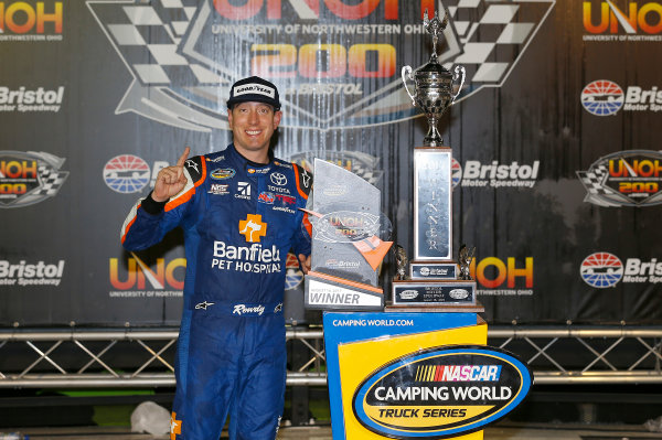NASCAR Camping World Truck Series UNOH 200 Bristol Motor Speedway, Bristol, TN USA Thursday 17 August 2017 Kyle Busch, Banfield Pet Hospital Toyota Tundra, celebrates in victory lane. World Copyright: Russell LaBountyLAT Images