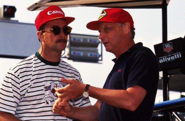 (L to R): Nigel Mansell (GBR) and Niki Lauda (AUT). German Grand Prix, Hockenheim, 26 July 1992