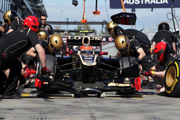 Romain Grosjean (FRA) Lotus E20 makes a pit stop. Formula One World Championship, Rd1, Australian Grand Prix, Qualifying, Albert Park, Melbourne, Australia, Saturday 17 March 2012.