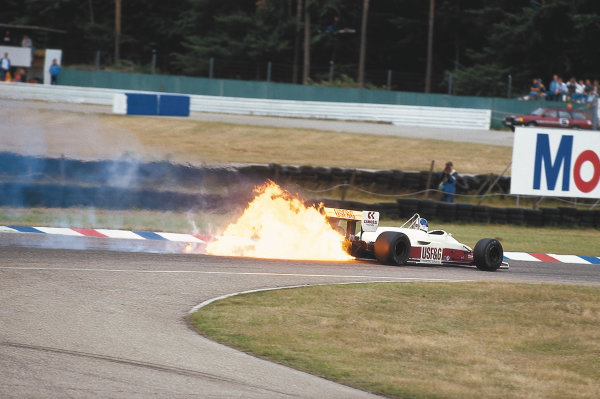 Hockenheim, Germany.24-26 July 1987.Derek Warwick (Arrows A10 Megatron BMW) catches fire.Ref-87 GER 09.Please Note: This image is available as a 30mb+ CMYK Tiff scan upon request.World Copyright - LAT Photographic