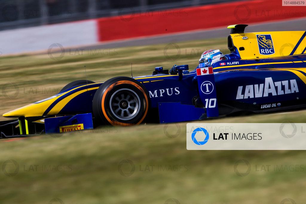 2017 FIA Formula 2 Round 6. Silverstone, Northamptonshire, UK. Thursday 13 July 2017. Nicholas Latifi (CAN, DAMS).  Photo: Zak Mauger/FIA Formula 2. ref: Digital Image _56I6629
