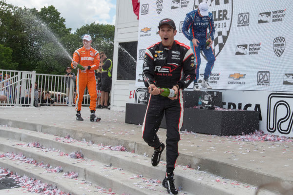 Verizon IndyCar Series Kohler Grand Prix Road America, Elkhart Lake, WI USA Sunday 25 June 2017 Champagne, 2nd place Josef Newgarden, Team Penske Chevrolet, 1st place Scott Dixon, Chip Ganassi Racing Teams Honda, and 3rd place Helio Castroneves, Team Penske Chevrolet World Copyright: Geoffrey M. Miller LAT Images