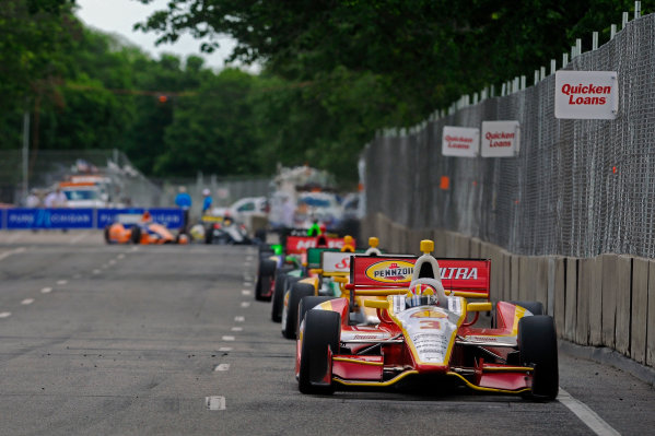 1-2 June, 2012, Detroit, Michigan, USAHelio Castroneves (#3) leads a pack of cars down the straight to turn 13.(c)2012, F. Peirce WilliamsLAT Photo USA
