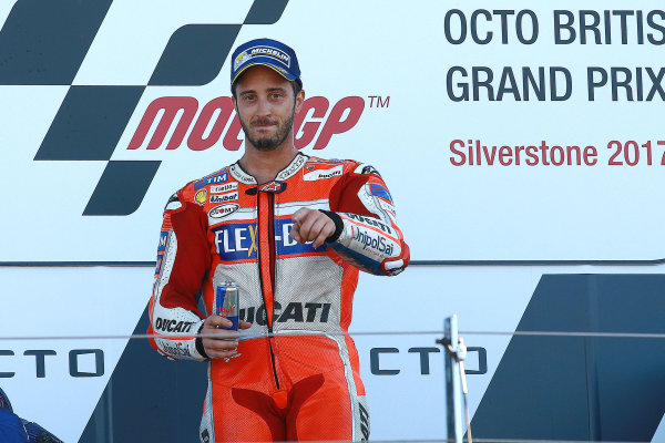 2017 MotoGP Championship - Round 12 Silverstone, Northamptonshire, UK. Sunday 27 August 2017 Podium: race winner Andrea Dovizioso, Ducati Team World Copyright: Gold and Goose / LAT Images ref: Digital Image 1056