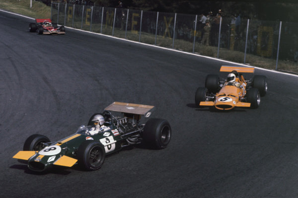 Mexico City, Mexico. 19 October 1969.Jack Brabham (Brabham BT26-Ford), 3rd position, leads Denny Hulme (McLaren M7A-Ford), 1st position and Jochen Rindt (Lotus 49B-Ford), retired, action.World Copyright: LAT PhotographicRef: 69MEX