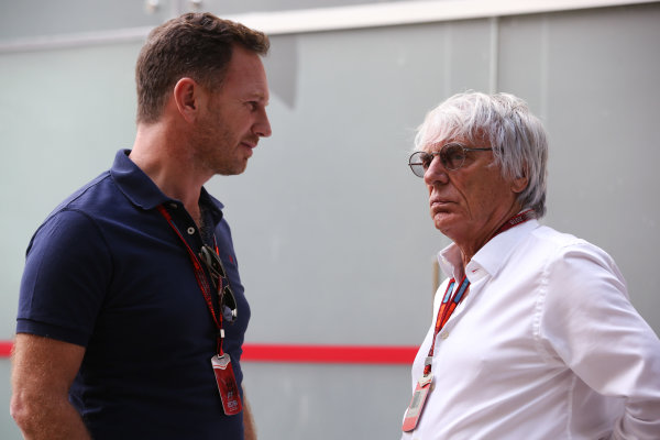 Interlagos, Sao Paulo, Brazil. Thursday 10 November 2016. Christian Horner, Team Principal, Red Bull Racing, talks to Bernie Ecclestone, CEO and President, FOM.  World Copyright: Coates/LAT Photographic ref: Digital Image DJ5R2042