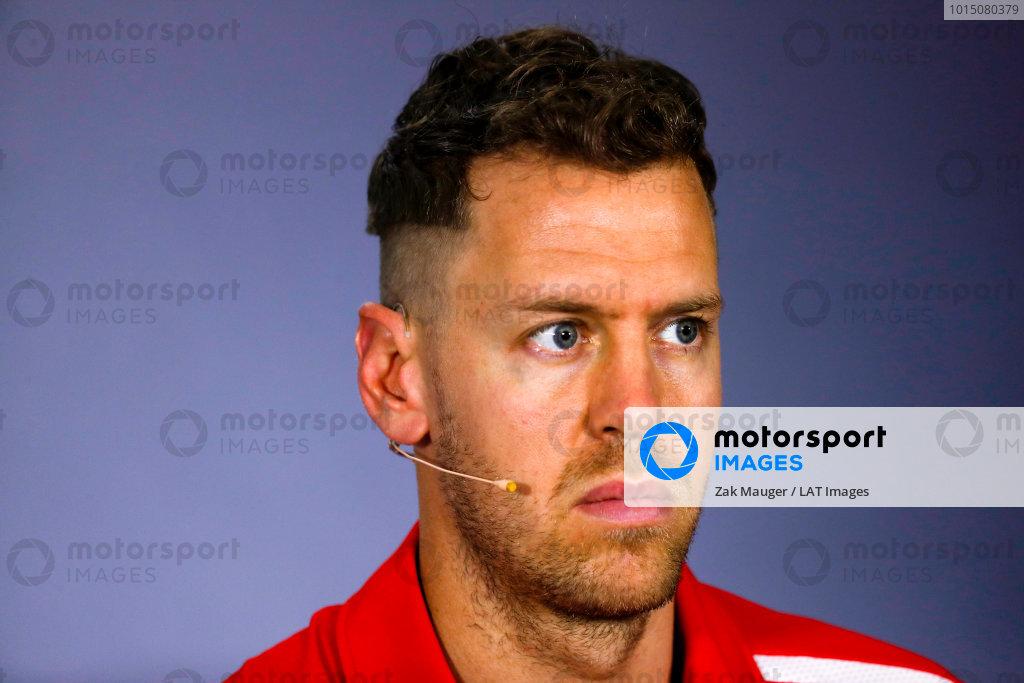 Sebastian Vettel, Ferrari in the Thursday press conference.